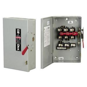GE Industrial TG3221R Disconnect Switch, Fusible, 30A, 240VAC, 2P, 3 Wire, NEMA 3R