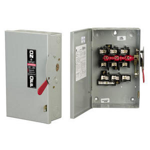GE Industrial TG3222R Disconnect Switch, Fusible, 60A, 240VAC, 2P, 3 Wire, NEMA 3R