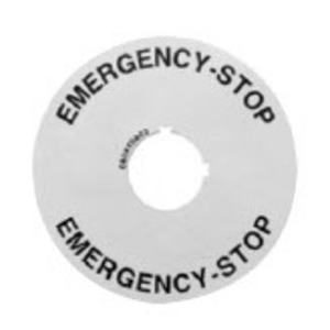GE 080XTGR02 Pilot Device, Legend Plate, Round, Emergency Stop, 22mm