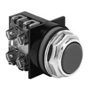 GE CR104PBG00B1 Push Button, Flush Black Head, Operator Only, 10A, 600V, Momentary