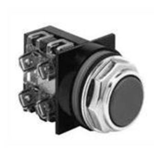 GE CR104PBG10B1 Push Button, Flush Black Head, 1 NO Contact, 10A, 600V, Momentary