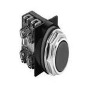 GE CR104PBG91B1 Push Button, Flush Black Head, 1NO/NC Contact, 10A, 600V, Momentary