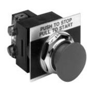 "GE CR104PBM01R5A Push Button, Red Mushroom, 1-3/8"", 1NC Contact, 10A, 600V, Nameplate"