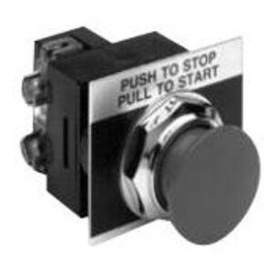 "GE CR104PBM01R5CA1 Push Button, Push-Pull, Red, 1-3/8"" Mushroom, 1NO/NC, Contact Block"