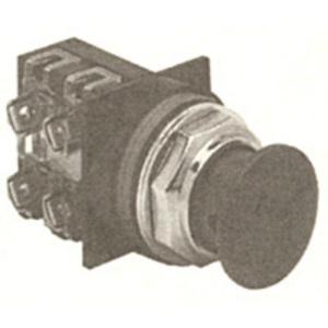 GE CR104PBM91B5 Push Button, Black Mushroom, Momentary, 1NO/NC Contact, 10A, 600V