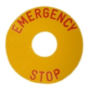 GE CR104PXN6EP009 Nameplate, 30mm, Yellow, Metal, Black Text (EMERGENCY STOP), Round