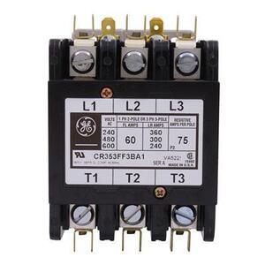 GE CR353FF3BA1 Contactor, Definite Purpose, 60A, 3P, 120VAC Coil