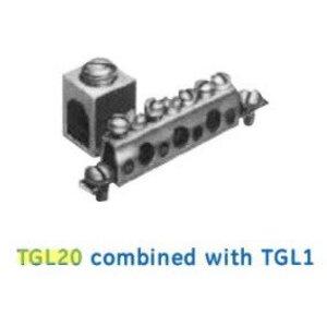 GE TGL20 Equipment Ground Lug, 1 x 6-2/0 AWG, Cu/Al