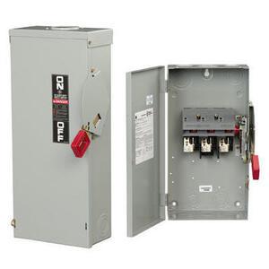 GE TH3221J Disconnect Switch, 30A, 240VAC, 250VDC, 2P, Fusible, NEMA 5/12