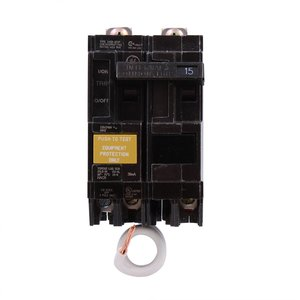 GE THQB2115GFEP Breaker, 15A, 2P, 120/240V, Q-Line Series, 10 kAIC, Bolt-On, GFCIEP