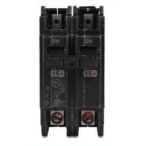 GE THQC22015WL Breaker, 15A, 2P, 240V, Q-Line Series, 10 kAIC, Lug In/Lug Out