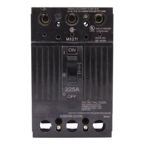 GE THQD32225X2 Breaker, 225A, 3P, 208/120 -240V, Q-Line, 22 kAIC, Lug In/Lug Out