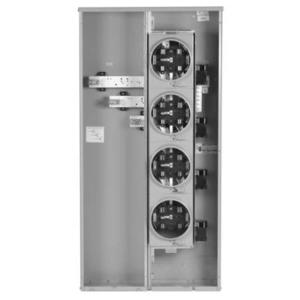 GE TMMR4220R Meter Stack, 200A, 4 Jaw, 120/240VAC, 4 Sockets, Ringless, 400A Buss