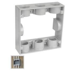 "Garvin Industries WP2EXB756 Weatherproof Box Extension, 2-Gang, 1"" Deep, (6) 3/4"" Hubs, Metallic"