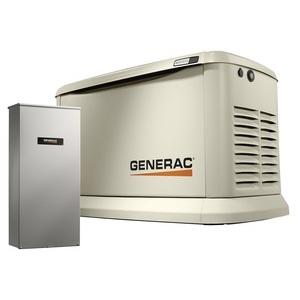 Generac 7043 Generator, Standby, 22kW, 120/240VAC, 100A, 1PH,Transfer Switch