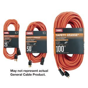 General Cable 03354.63.04 Extension Cord, Outdoor, Safety Orange, 16/3 SJTW, 50' Long