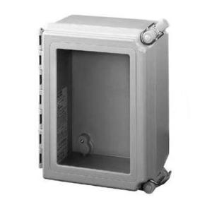 "Hoffman A12106CHQRFGW Enclosure, Hinged Cover, Window, NEMA 4X, 12"" x 10"" x 6"", Fiberglass"