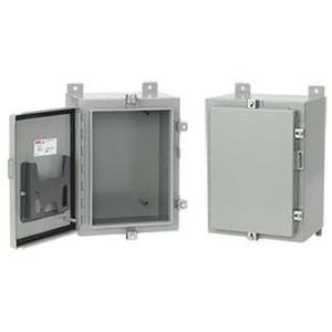 "Hoffman A30H30BLP Enclosure, NEMA 4, Continuous Hinge, 30"" x 30"" x 8"", Steel/Gray"