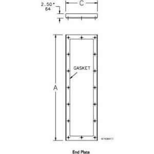 "Hoffman AMOD84EPT End Plate For Modular Enclosure, Size: 84"" x 18"", Steel/Gray"