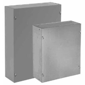 "Hoffman ASG10X10X6NK Pull Box, NEMA 1, Screw Cover, 10"" x 10"" x 6"", Galvanized, No KOs"