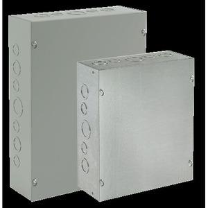 "Hoffman ASG6X6X6 Pull Box, NEMA 1, Screw Cover, 6 x 6 x 6"", KOs, Steel/Gray"