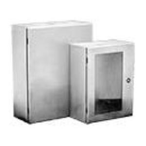 "Hoffman CSD16168SS6 Enclosure, NEMA 4X, Hinge Cover, 16"" x 16"" x 8"", Stainless Steel"