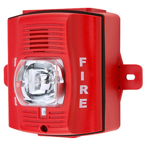 Honeywell P2RK Horn Strobe, 2-Wire, Outdoor, Wall Mount, 12/24VDC, Red