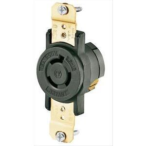 Hubbell-Bryant 70615FR Lkg Rcpt, 15a 250v, L6-15r, Bk