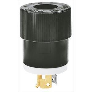 Hubbell-Bryant 9965 Lkg Plug, 2p3w, 20a 250v, B/w