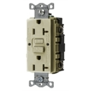 Hubbell-Bryant GFRST20I GFCI Receptacle, 20A, 125V, Self-Test, Ivory