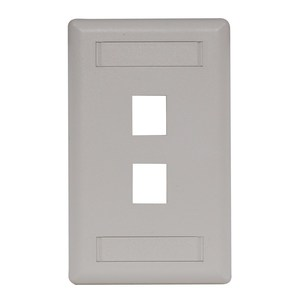 Hubbell-Bryant IFP12OW Wallplate, 2-Port, 1-Gang, Keystone, Rear Load, Flush, Office White