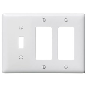 Hubbell-Bryant NP1262W Combination Wallplate, 1-Toggle & 2-Decorator, White