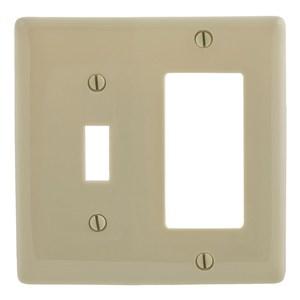Hubbell-Bryant NP126I Combination Wallplate, 2-Gang, Toggle/Decora, Nylon, Ivory