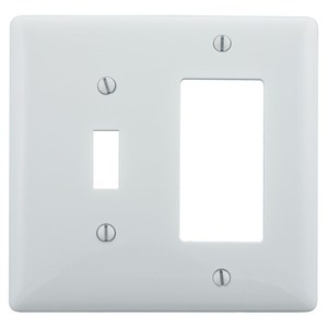 Hubbell-Bryant NP126W Combination Wallplate, 2-Gang, Toggle/Decora, Nylon, White
