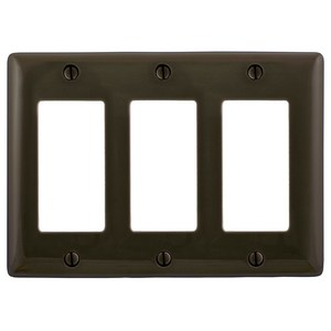 Hubbell-Bryant NP263 Decora Wallplate, 3-Gang, Nylon, Brown