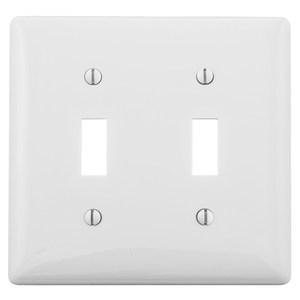 Hubbell-Bryant NP2W Toggle Switch Wallplate, 2-Gang, Nylon, White