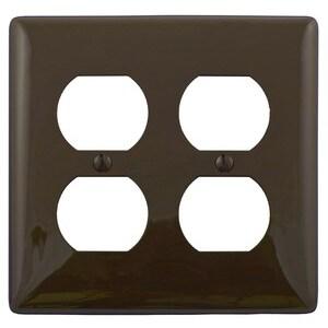 Hubbell-Bryant NP82 Duplex Receptacle Wallplate, 2-Gang, Nylon, Brown