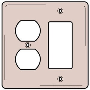 Hubbell-Bryant NP826I Comb. Wallplate, 2-Gang, Duplex/Decora, Nylon, Ivory, Standard