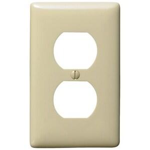 Hubbell-Bryant NPJ8I Duplex Receptacle Wallplate, 1-Gang, Nylon, Ivory, Mid-Size