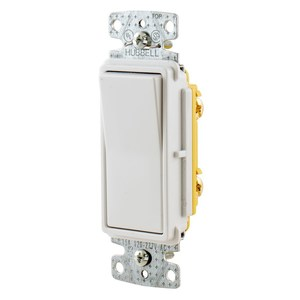 Hubbell-Bryant RSD115W Single-Pole Decora Switch, 15A, 120/277VAC, White