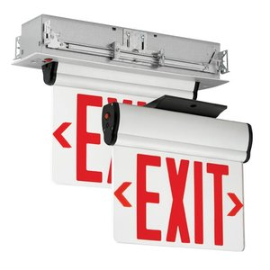 Hubbell-Dual-Lite CELS1RNE Edge Lit LED Exit Sign, Single Face, Red Letters