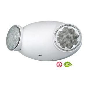 Hubbell-Dual-Lite CU2RC Emergency Light, LED, Remote, 2-Head, 1W, 3V, White