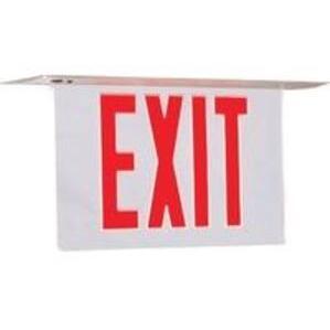 Hubbell-Dual-Lite CVER2RNE Exit Sign, Edge-Lit LED, Red Letters, 4W, 120/277V