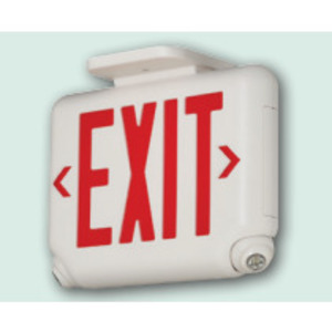 Hubbell-Dual-Lite EVCURW Emergency Combo Exit/Light, LED, White, Red Letters