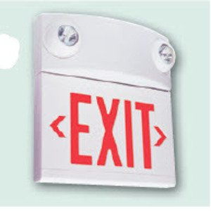 Hubbell-Dual-Lite LXURW Exit Sign, LED, White, Red Letters, 120/277V, 2.64W