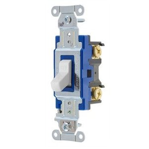 Hubbell-Kellems 1201W Single Pole Switch, 15A, 120/277VAC, White