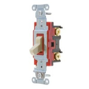 Hubbell-Kellems 1222I Single Pole Switch, 20A, 120/277VAC, Ivory