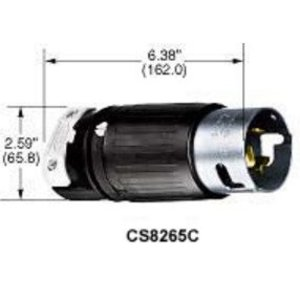 Hubbell-Kellems CS8265C Locking Plug, 50A, 250V, California Style, 3P3W