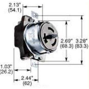 Hubbell-Kellems CS8469 Twist-Lock Receptacle, 50A, 480V, 2P3W, Black