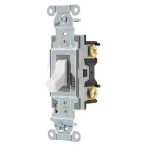 Hubbell-Kellems CSB120W Single Pole Switch, Spec Commercial Grade, 20A, 120-277V AC, White